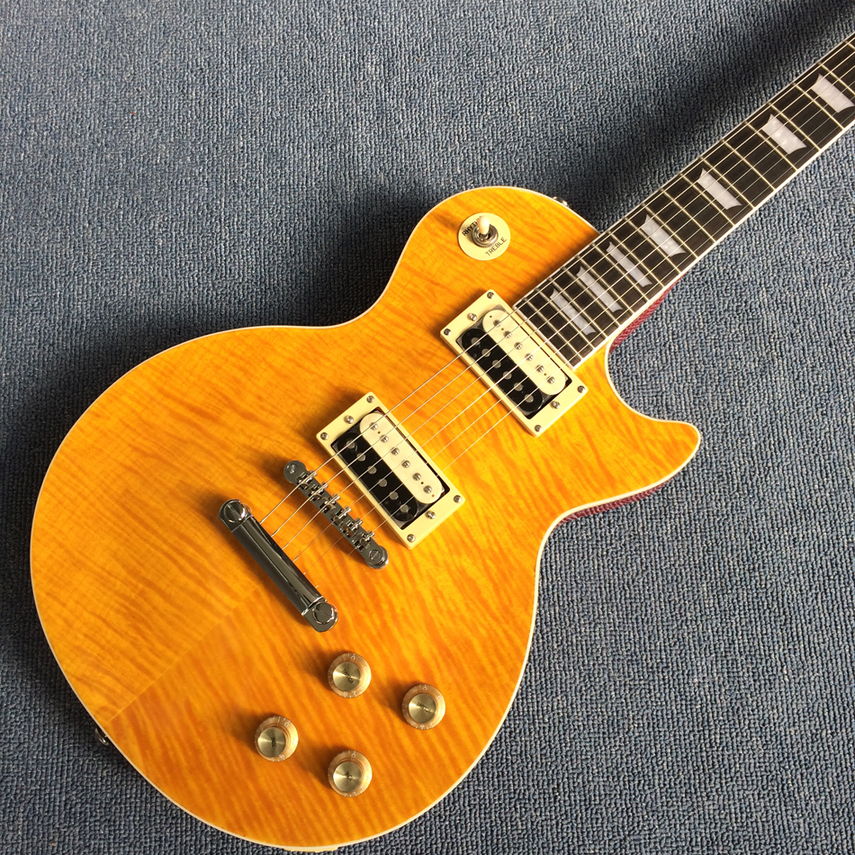 New style high quality Manual customization electric guitar, Flame Maple Top,Ebony Fingerboard,frets binding,free shipping