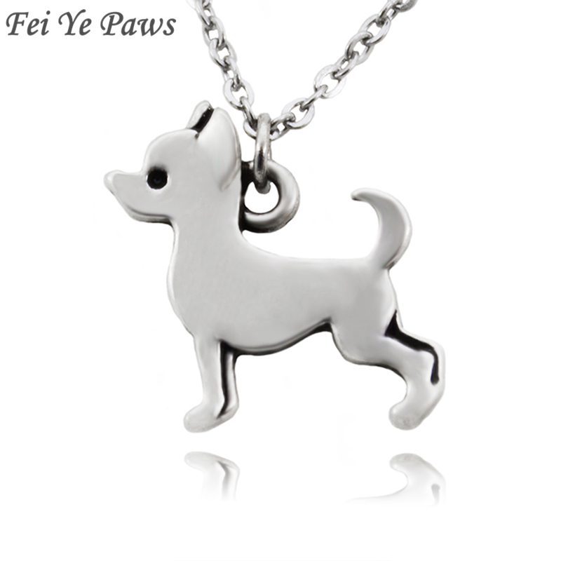 Fei Ye Paws Deklaratë e zinxhirit të çelikut të pandryshkshëm Chihuahua Dog Charms Necklaces & varëse jakë Boho Pet Animal Animal Long zinxhir zinxhir