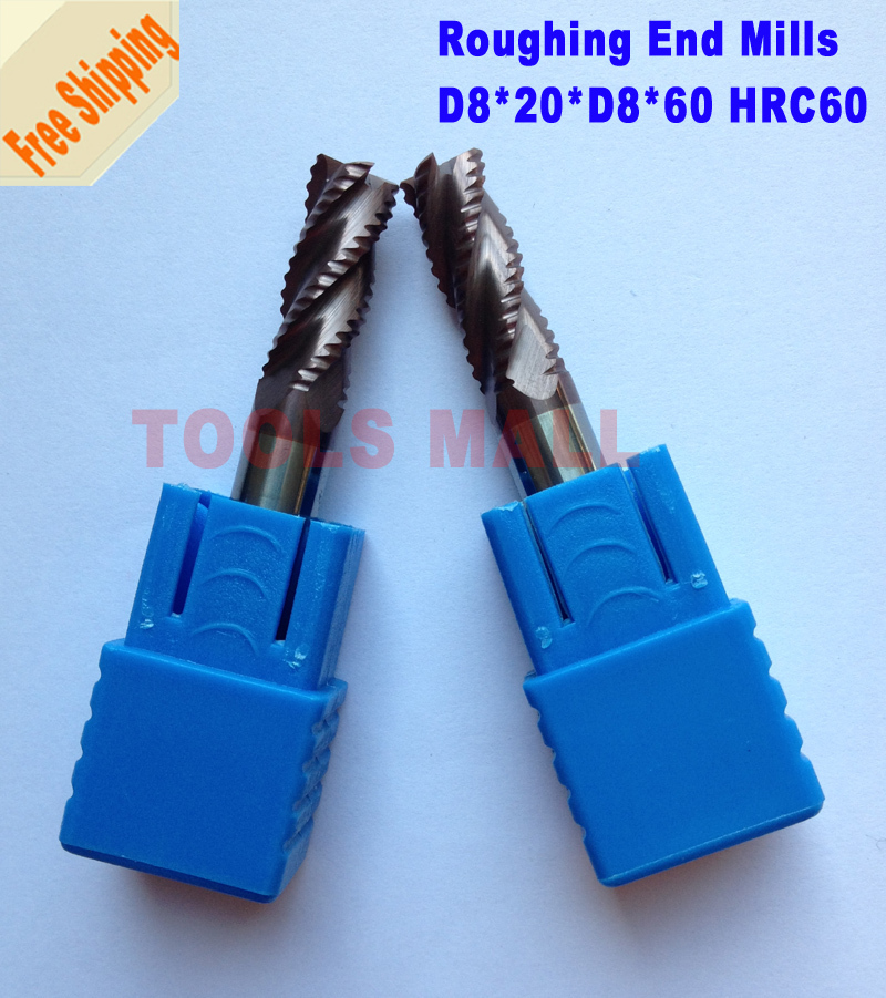 Free Shipping-3pcs of 8mm Roughing End Mills 3 flutes HRC60 Milling cutters CNC EndMill Tools Carbide router bits