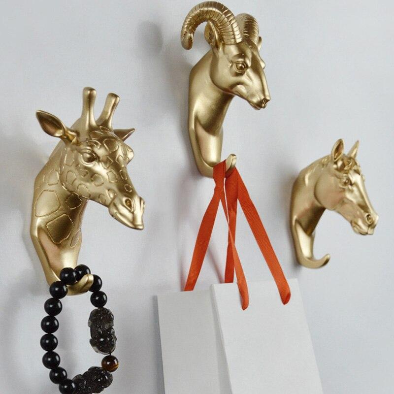 Creative 3D Craft Gold Animal Head Hook Resin Wall Hangers