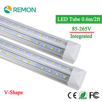 V Shape Integrated LED Bulbs Tubes T8 600mm 2Feet 20w Led Tube Light AC85 265V 96LED