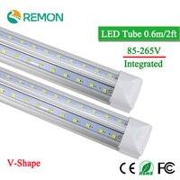 V Shape Integrated LED Bulbs Tubes T8 600mm 2Feet 20w Led Tube Light AC85 265V 96LED