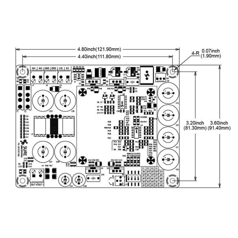 Lusya 500 Вт Boost board module DC to DC 12 В Импульсный блок питания Выходное напряжение 24V48V для автомобиля A3-012
