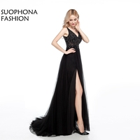 Real Photo V Neck Simple Ecening Dress Long Illusion Beading Sexy Formal Dress Evening Party Prom