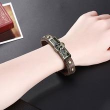 GOMAYA Fashion Leather Bracelet Punk Style Zinc Alloy Skull Rope Chain Unisxe For Women Men Jewelry недорого