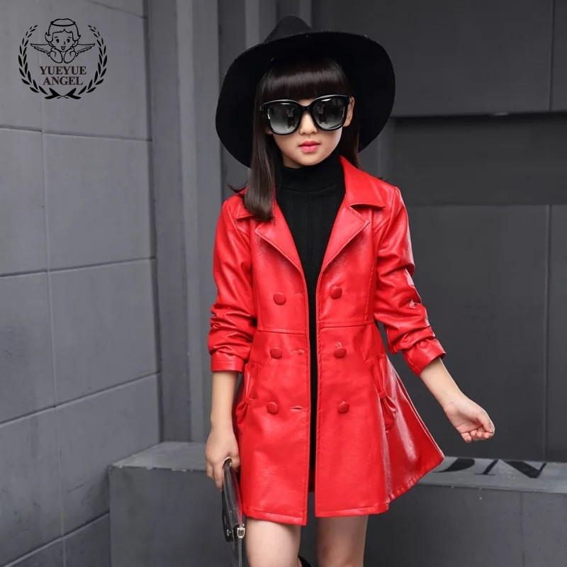 PU Leather Girls Trench Coat Long Fashion Full Solid Red Black Belted Windbreaker For Girls Lapel Childrens Jacket 6-10 Years