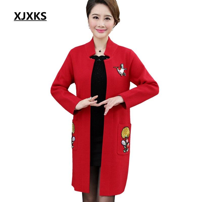 XJXKS nouveau 2018 automne hiver femmes long manteau haut de gamme broderie col Mandarin lâche grande taille femmes manteau de laine