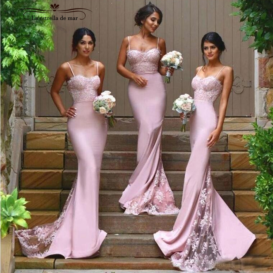 Robe Demoiselle D'honneur 2019 Lace And Satin Sexy Mermaid Blush Pink Bridesmaid Dress Long Plus Size Wedding Party Gowns