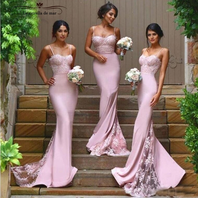 85039eb3a7029 robe demoiselle d honneur 2019 lace and satin sexy mermaid blush pink  bridesmaid dress long plus size wedding party gowns