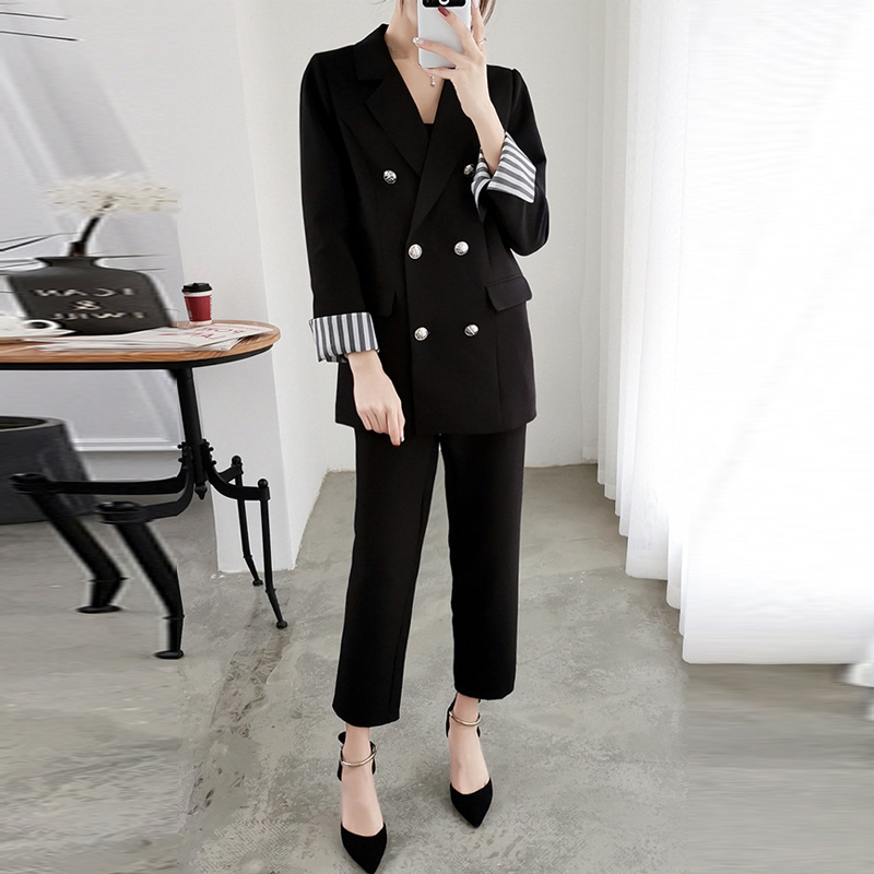 Work Fashion Pant Suits 2 Piece Set for Women Double Breasted Oversized Blazer Jacket Trouser Office