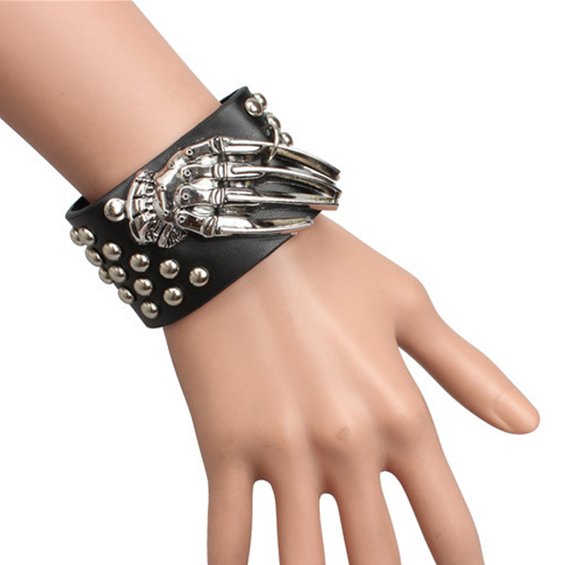 Black Leather Bracelet Punk Rock Cosplay Skeleton Hand Dots Bangle ...