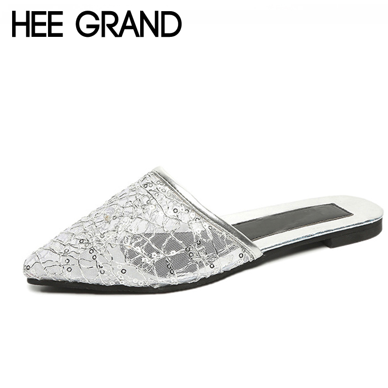 HEE GRAND Mesh Women Creepers For 2018 Summer Bling Comfort Flats Cut-out Slippers Shoes Woman Gold Sliver Size 35-39 XWT1063 gold sliver shoes woman for 2016 new spring glitter bling pointed toe flats women shoes for summer size plus 35 40 xwd1841