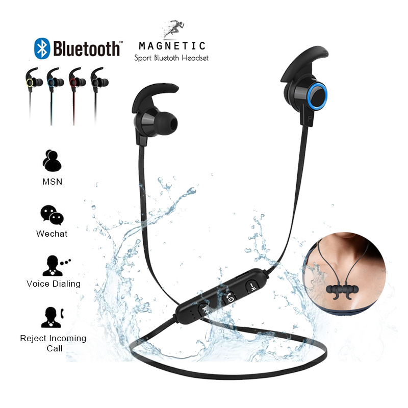 Magnetic Attraction Bluetooth Earphone Waterproof Sport Headphone 4.2 with Charging Cable Young Earphones Build-in Mic Headphone(China)