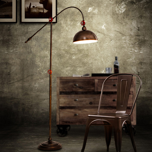 Loft Floor Lamp Retro Country Standing Home Reading Lights Office Lighting E27 Bulb Frame Heigh Adjule