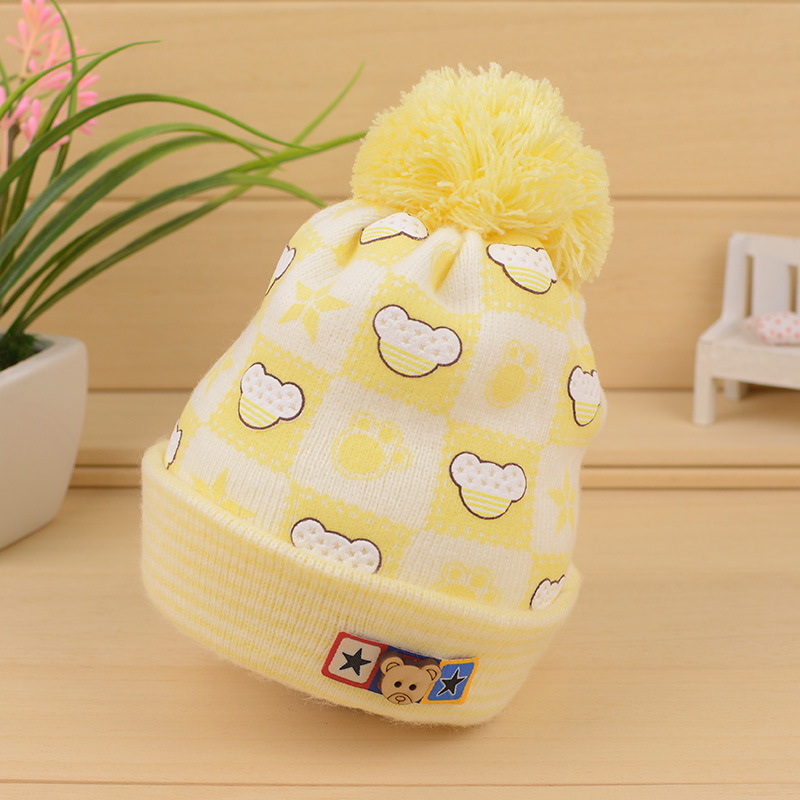 Cute Bear Baby Hat Cotton Knitted Infant Caps Warm Crochet Toddler Beanie Newborn Baby Winter Hat With Ball Baby Boys Clothing