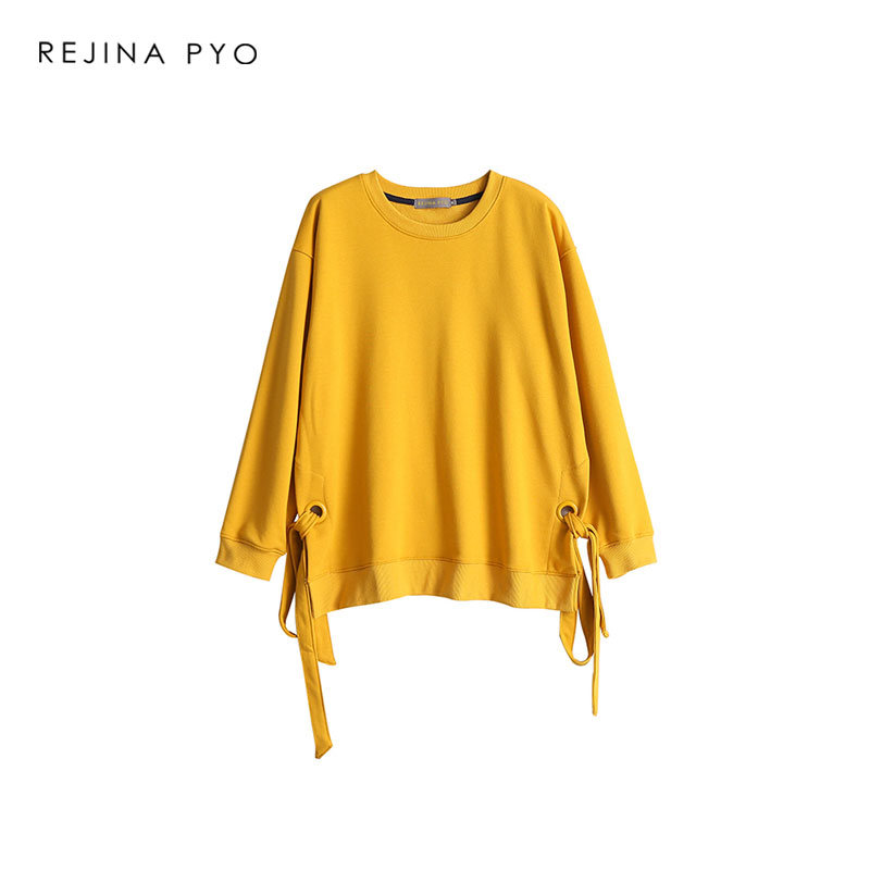 REJINAPYO Women Cotton Loose Solid All-match Sweatshirts O-neck Bow Drawstrings Split Fashion Streetwear Pullovers New Arrival