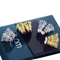Micro Pave Badminton Earrings Personalized Crystal Badminton Dangle Earrings Sports Hobby Jewelry Badminton Fan Mom Gift