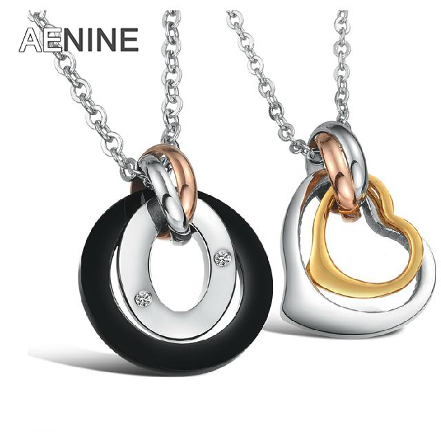 AENINE Black Gold Heart Romantic Couple pendant Necklace 316L stainless steel Titanium Steel Rose Gold Woman Man Jewelry OGX606