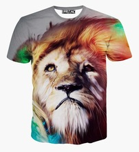 Lion Print Summer tops fashion t-shirt men/boy short sleeve t shirt 3d print smooth hair lion tshirt free shipping