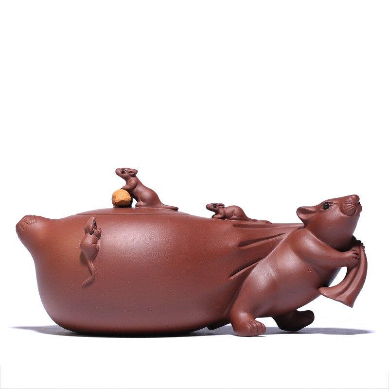 Raw Ore Purple Mud Wish Your Kids A Promising Future Pot  Yixing Purply Clay Teapot Chinese Kongfu Tea Pots 400ml Teaware|Teapots| |  - title=