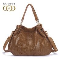 Coofit New Women Fashion Casual Leather Handbag Shoulder Bag Solid Serpentine Design Lady Top Handle Handbag