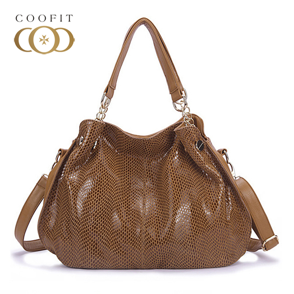 Coofit New Women Fashion Casual Leather Handbag Shoulder Bag Solid Serpentine Design Lady Top Handle Handbag Snake Skin Tote Bag new split leather snake skin pattern women trunker handbag high chic lady fashion modern shoulder bags madam seeks boutiquem2057