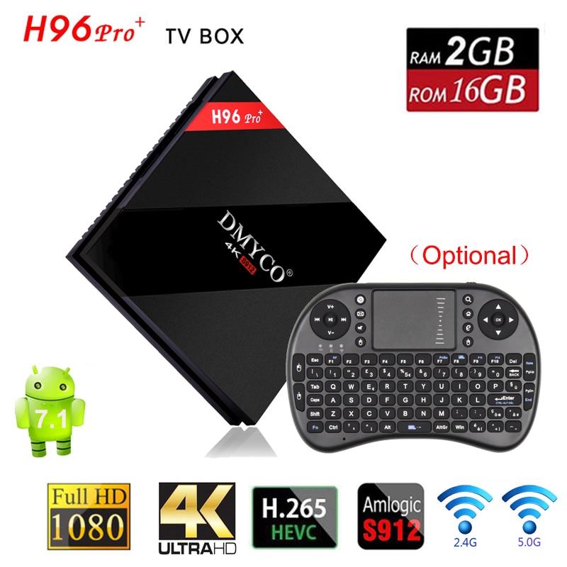 Original H96 Pro Plus TV Box Android 7.1 Amlogic S912 Smart TV Box Octa Core 2G RAM 16G ROM 5.0GHz WiFi H96 Pro 4K Media Player