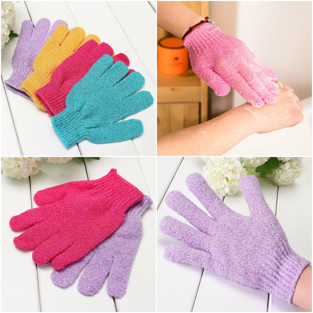 1pc Scrubber Skid Resistance Body Massage Exfoliating Sponge Gloves Shower Exfoliating  Foam Cleaning Spa Bath Accessories