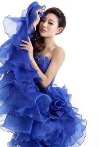 Image 5 - 저렴한 블루 컬러 Strapless 구슬 장식 웨딩 드레스 2020 한국어 여성 미술 시험 가운 부분 드레스 Vestidos 드 Novia