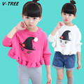 V-TREE Girls Cotton TShirts Baby Girls Long Sleeve Cute Hoodies 2017 Spring Children Casual T-Shirt Teenagers Cartoon T Shirt