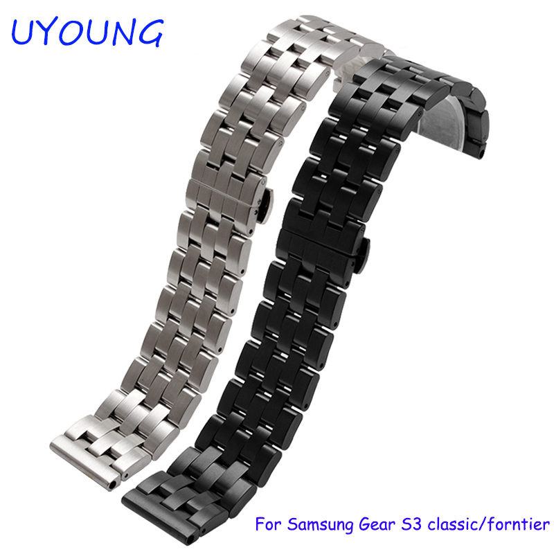 New arrival quality solid stainless steel watchband 22mm black silver metal bracelet for Samsung Gear S3 classic/forntier for samsung gear s2 s3 smart wristband qiality pearl ceramics watchband 20mm 22mm black white bracelet