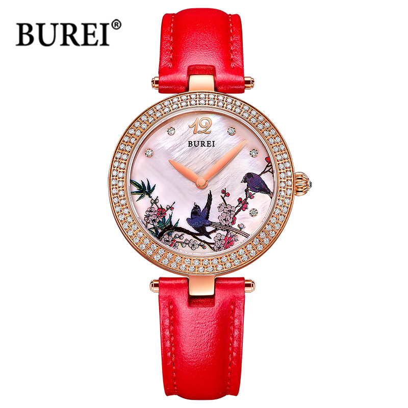 BUREI Watches Women's Gold Silver Waterproof Fashion Female Antique Ladies Quartz Wrist Watch Clock Woman Saat Relogio Feminino casima women watches waterproof fashion ladies leather rhinestone gold quartz wrist watch clock woman 2018 saat relogio feminino