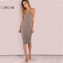 COLROVIE Plunging Bust Strapless Elegant Bodycon Dress