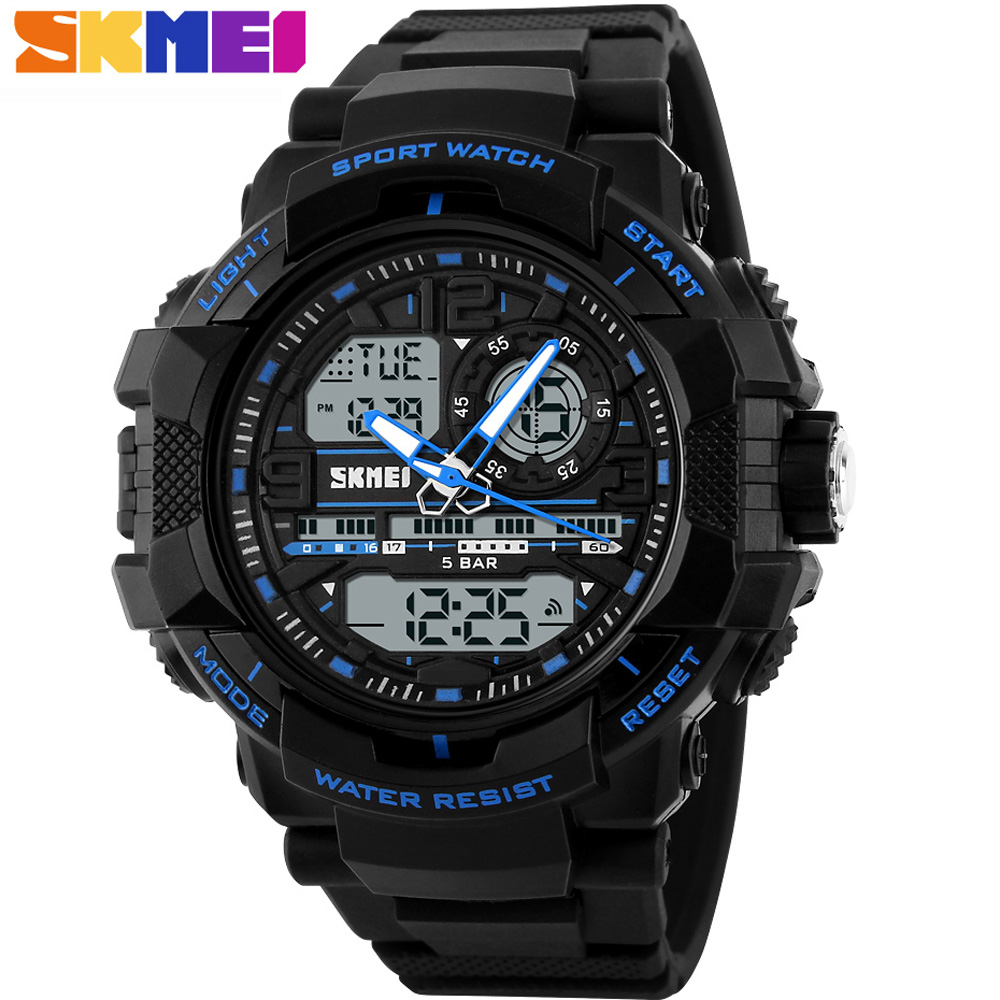 SKMEI Brand S SHOCK 3 Time Display LED Digital Watch man Fashion Casual Sports Watches Men Dive 50M Wristwatches PU Strap Clock