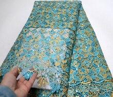 Tela de encaje africana de diseño bordado 2019, tela de encaje nigeriano francés de alta calidad, cordón de guipur con lentejuelas para vestido de fiesta
