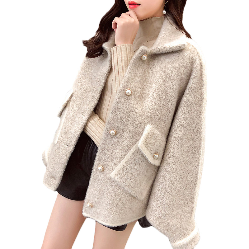 Women Sweater Short Coat Autumn Winter New Loose Imitation velvet Thick Sweaters coats Womens Bat sleeve Warm Cardigan Tide F763(China)