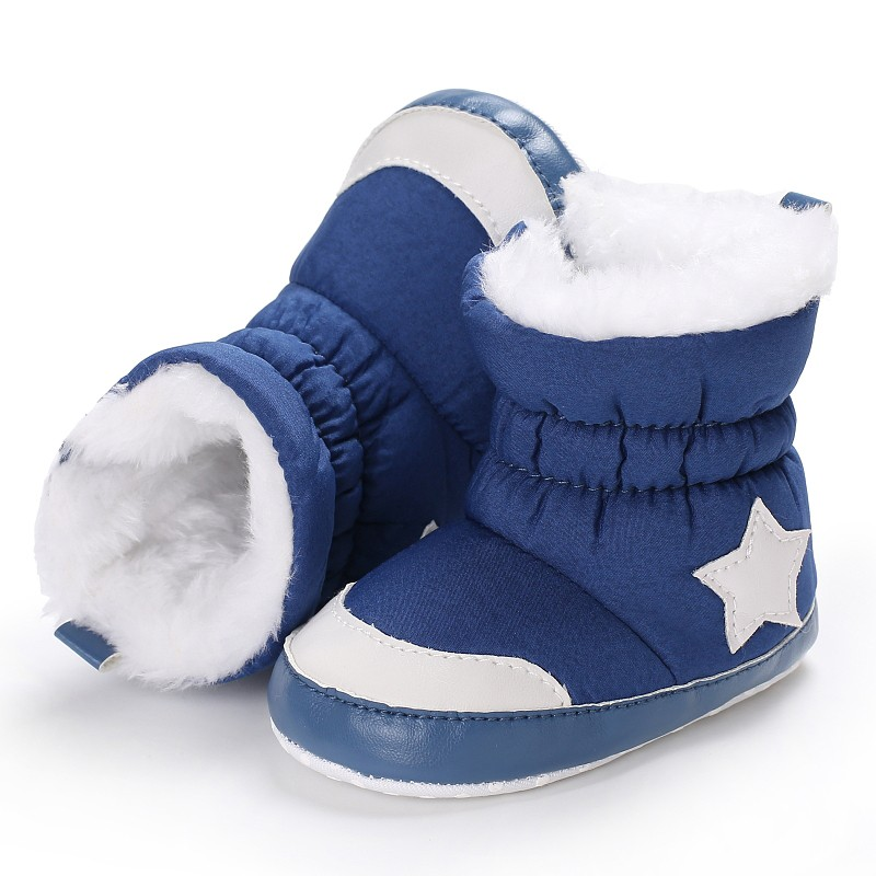 Newborn Baby Kids Unisex Shoes Winter Warm Crib Bebe Infant Toddler First Walkers Five Star Pattern Snowfield Snow Shoes