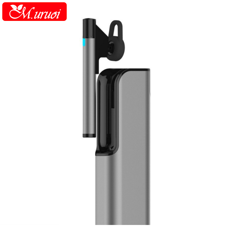 M.uruoi Single Earphone With Power Bank Handsfree Headphone Wireless Bluetooth Earbuds Noise Reduction Headset For Business/Car ravi a8 wireless bluetooth earbuds airpods with usb car charger handsfree bluetooth earphone with mic for smartphone dd
