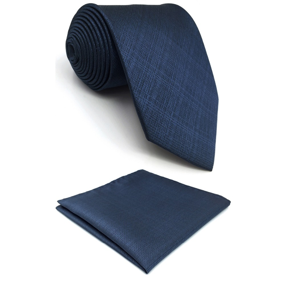 D20 Solid Blue Ties For Men Silk Neckties Classic Extra Long Slim Skinny
