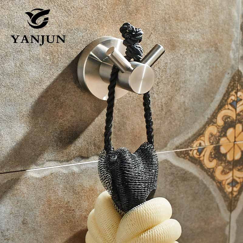 Yanjun Modern 304 Stainless Steel Brushed Hat Hook Bathrobe Clothes Hanger Bathroom Coat Rack Bathroom Accessories YJ-7550 ydl jd 937 stainless steel bathroom clothes hook silver page 8