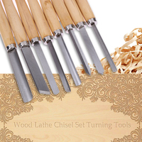8pc Leather Wood Carving Tool Turning Tools Woodworking Gouge Skew Parting Sculpture Knives Tool