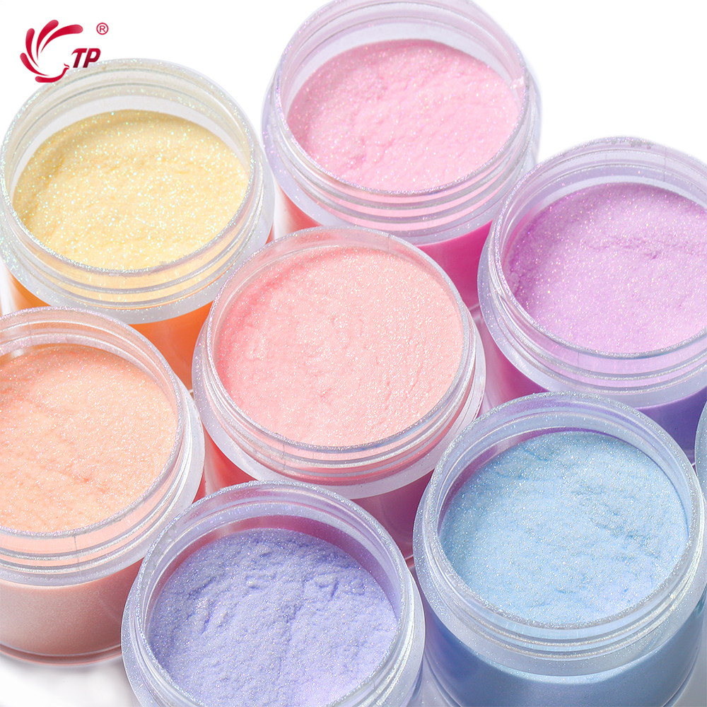 TP 28g Nail Pearlescent Glitter Dipping Powder 1oz Shiny Pigment Laser Colorful Holographic Shimmer Dust Dip Powder Decoration