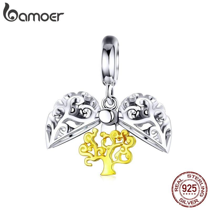 Bamoer árvore da vida aberto coração pingente para charme pulseira cor do ouro prata 925 jóias finas colar pingentes scc1161