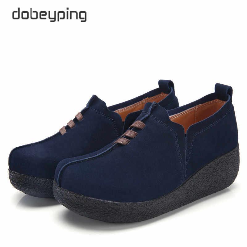 Dobeyping İlkbahar sonbahar kadın ayakkabı inek süet deri kadın Flats kalın taban kadın loafer'lar rahat Platform bayanlar Sneakers
