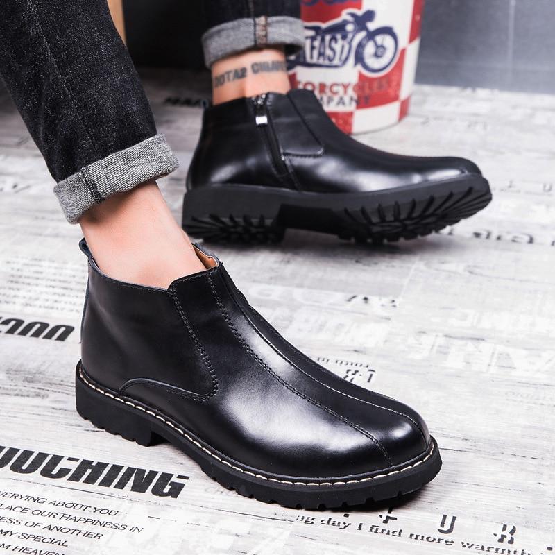 De En Taille Cuir Beige Côté Hiver Casual D'hiver Bottes Hommes Moyen Chaussures noir Chaussons Bas nqwxST0If