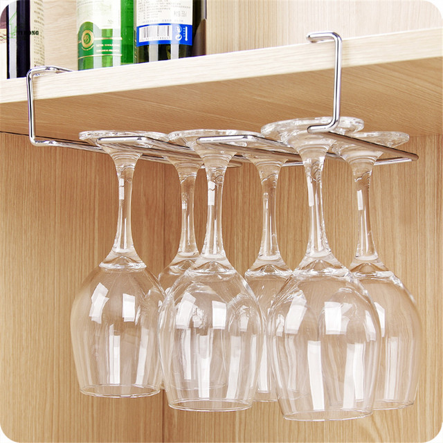 Bon YIHONG Stainless Steel Wine Glass Holder Under Cabinet Wall Wine Rack  Storage Organizer Stemware Racks Hanger