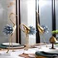 Statue luxueuse en cuivre de Flamingo | Sculpture avec queue de cristal blanc bleu, Figurines de cadeau d'art pour la maison, accessoires de décoration en marbre