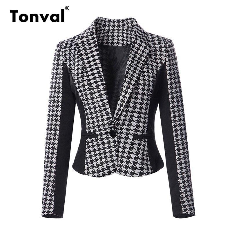 Tonval Houndstooth Blazer Women 2018 Single Button Blazer Feminino And Jackets Female Ladies Work Formal Coat Blazers