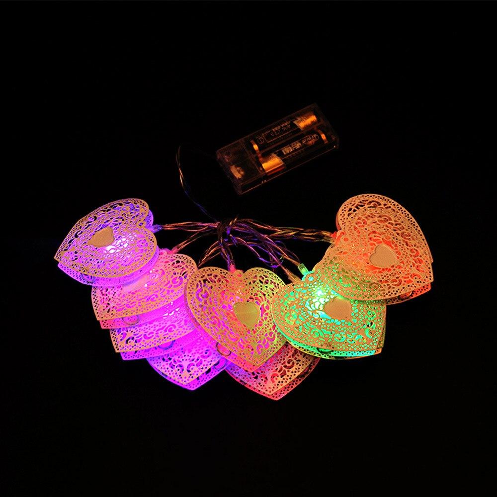 10 pcs Heart-shaped Christmas Tree LED Light Decor Battery Operated hollow heart String Light