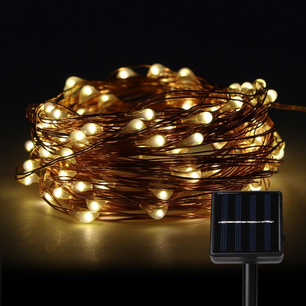 Solar Panel Copper String Lights 100 Led Outdoor Mini